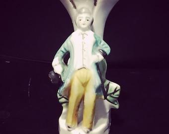 Vintage Occupied Japan Colonial Man Porcelain Figurine Vase - Collectible