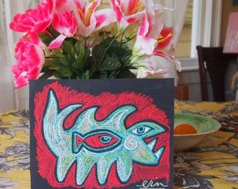 Fish-Eatin' Creature Oil Pastel Original drawing