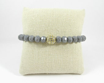 Grey Rondelle with Rhinestone Accent