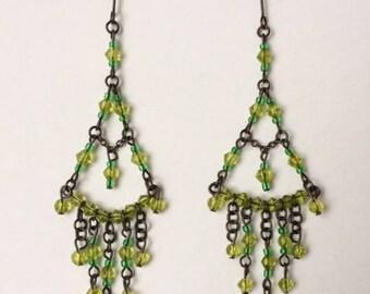 Vintage 90's Green Bead Dangle Drop Chandelier Earrings