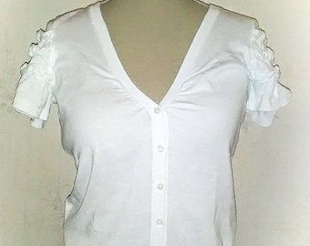 Vintage. Blouse, vest, sleeved short, puffed, a nice neckline, pin up vintage t-shirt. Vintage.gilet, the short sleeves