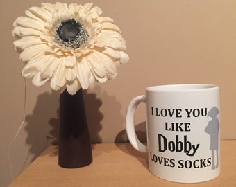 Harry Potter mug, dobby mug, Harry Potter gift, dobby gift, Harry Potter dobby mug, novelty mug, Harry Potter memorabilia, Valentine's mug