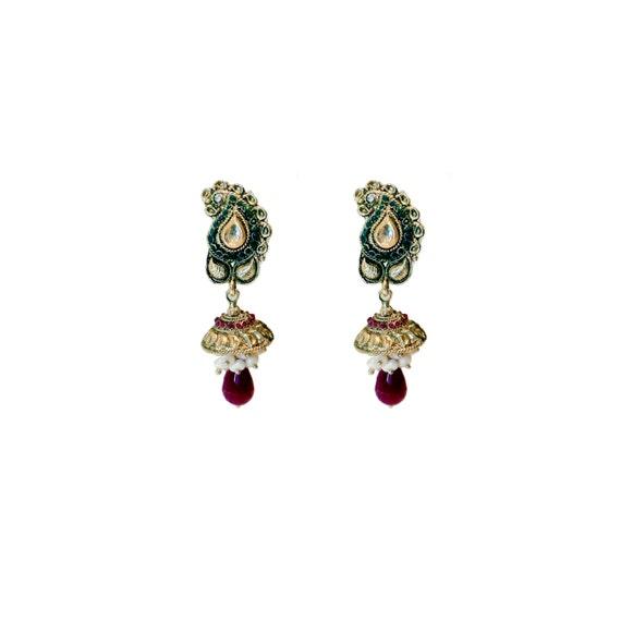 Paisley Green Red Ethnic Traditional Jhumki Polki Earrings