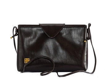 1980s Givenchy brown envelope leather crossbody bag