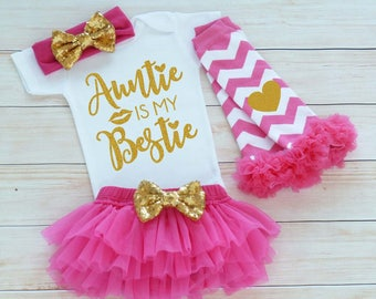 Baby Girl Outfit, Auntie Is My Bestie, Baby Girl Coming Home Bodysuit, Coming Home Baby Girl, Auntie's Girl, Baby Shower Gift, Infant Shirt