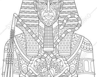 Ancient egypt art etsy Coloring book for adults egypt