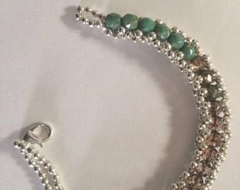 Sage Green & Brown Sparkle Bracelet