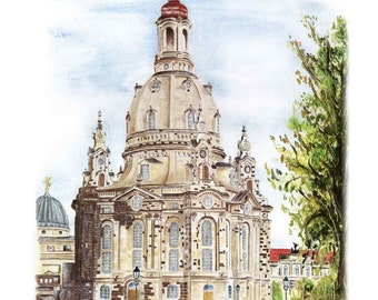 Dresden Frauenkirche - color - original signed art print