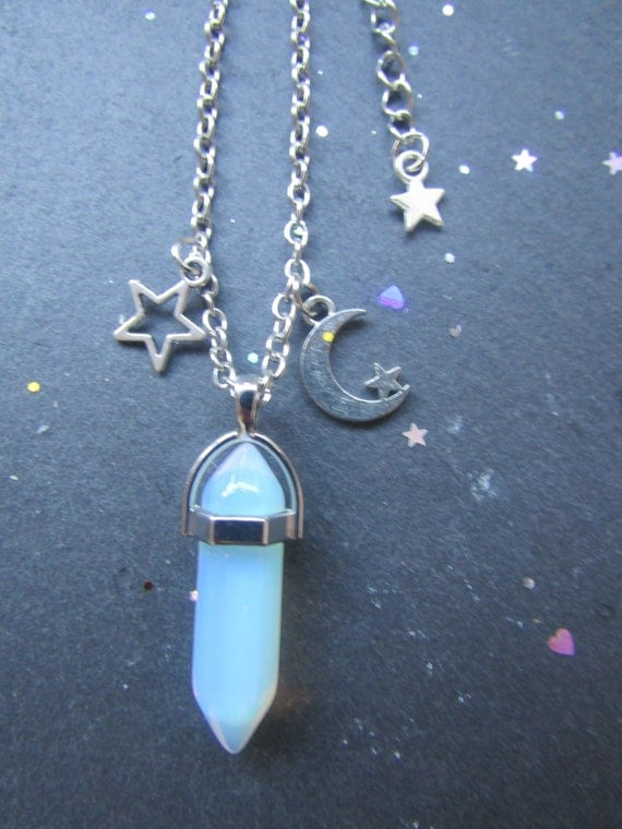 Opalite, moon and stars Necklace, Crystal Necklace, Gemstone Necklace, Boho chic Necklace, Witchy Necklace, Quartz Necklace, opal gemstone,