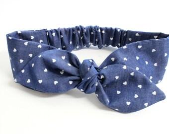 I heart You Denim baby headband, baby topknot, knotted headband, baby headband, baby headband, hearts denim headband