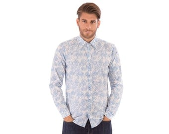 Mens 100% Organic Cotton Long Sleeve Slim Fit Blue Flower Floral Print