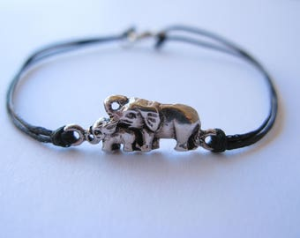 Elephant Parade Mother and Baby Elephant Sterling Silver and Cotton Bracelet