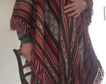 Handwoven One-Of-A-Kind Peruvian Alpaca Poncho