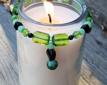 Decorative Candle Accessory/ Candle Bling/ Candle Ring/ Home Decor/ Green/ Emerald Green/ Black/ Dark Green/ Sparkly