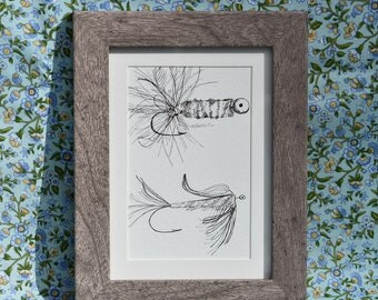 Fly Fishing Drawing, Rustic Decor, Cabin Chic Art, Pen Drawing, Cottage Chic Art, Art for Dad, Drawing for Fisherman, Fish Wall Art Framed