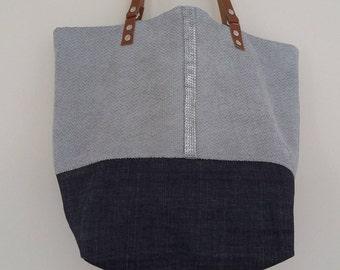 "SOLD Tote ""Nadia"", reversible bag, handbag, tote bag, sequins, handles, leather, tote, hobo bag, jeans, grey, silver, taupe, blue bag"