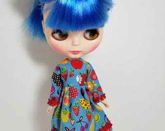 Cute fruits retro Blythe dress with hair accessories