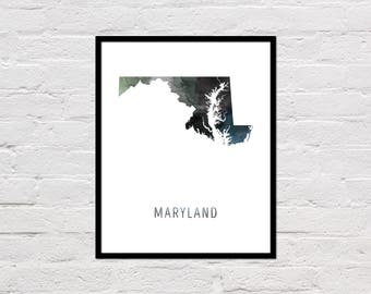 Maryland Map Print, Maryland Art Print, Maryland Printable Wall Art, Watercolor Map, Maryland Poster, Printable Maryland State Map, Download
