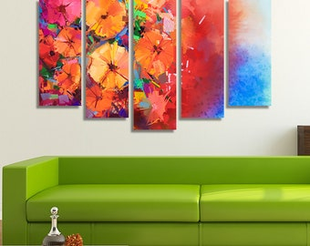LARGE XL Abstract Oil Painting Canvas a Bouquet of Gerbera Flowers Canvas Print Still Life Canvas Wall Art Print Home Decoration - Stretched