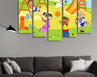 LARGE XL Kids at the Playground Cartoon Canvas Wall Art Print Home Decoration - Framed and Stretched - 2005