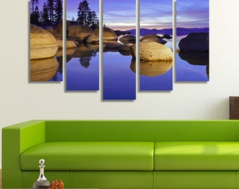 LARGE XL Lake Tahoe at Sunset Canvas Granite Boulders Wall Art Print Home Decoration - Framed and Stretched - 4014