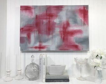 Red and Gray Abstract Canvas
