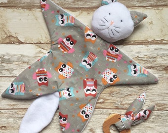Birth gift box Doudou cat and teething ring for baby