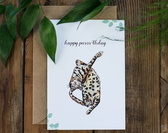 Happy Purrr-thday Botanical Floral Illustrated Cat Happy Birthday Greetings Card