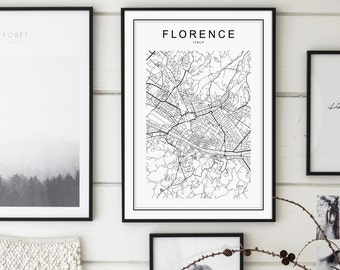 Florence Print, Florence Map, Florence, Florence Italy, Florence Italy Map, City Map Print, Black and White Map, Italy Map, Firenze