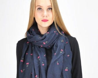 Blue Scarf Pink Cherry, Navy Blue Shawl Wrap Scarf, Large Pink Cherries Infinity Scarf, Accessories
