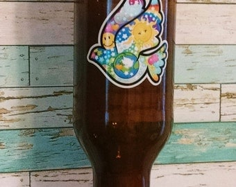 Bird Feeder / Brown Glass Bottle / Peace Dove / Upcycled