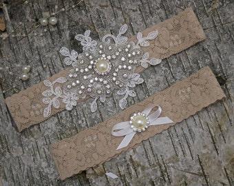 Tan bridal garter set/ivory garter/keepsake garter/Rhinestone garter/Lace garter/Prom garter/ivory garter set/ivory garter/crystal garter