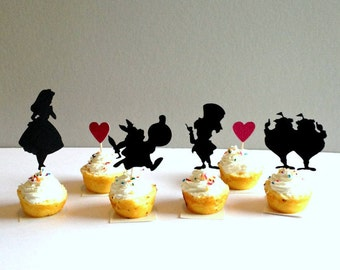 Alice In Wonderland Cupcake Toppers, Alice In Wonderland Party Supplies, Alice in Wonderland Cupcake Picks