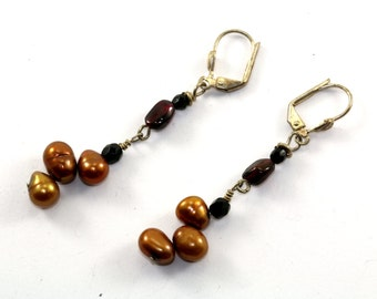Vintage Golden Mother of Pearl Beads Drop Dangle Earrings Sterling Silver ER 829