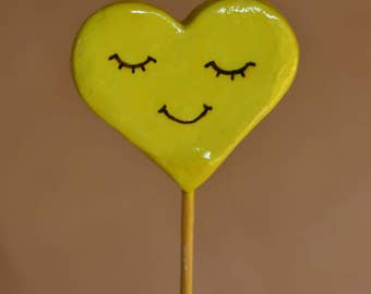 Heart on a stick - face collection. Handmade colorfull heartstick.. Perfect for valentines day. Wedding Decor. Baby shower. Mothers day gift