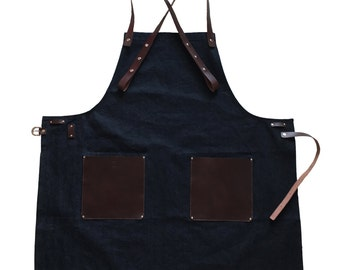 Denim+leather work apron