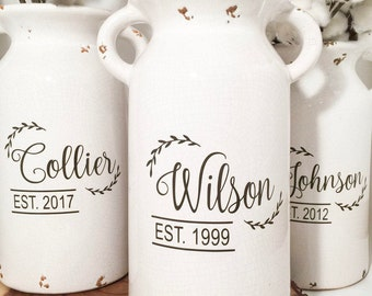 Fixer upper inspired milk jug vase with last name personalization | milk jug | vintage milk jug| Rustic Milk jug | Wedding Gift |housewarmin
