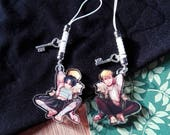 "Killing Stalking Yoonbum x Sangwoo 1.5"" double sided transparent charm holding hands"