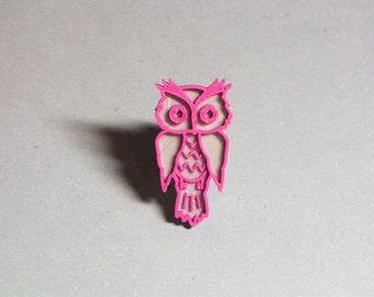 3D printed - Owl silver/purple