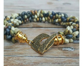 Bohemian Jewelry - Boho Beaded Bracelet - Boho Bracelet - Chunky Bracelet - Metallic Bracelet - Gift for Women - Bohemian Bangle Bracelet