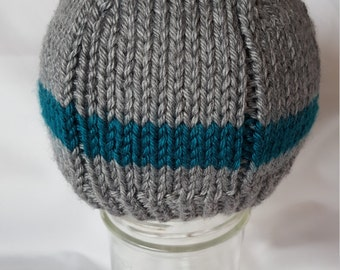 Handmade Knit Blue And Grey Baby Hat/Knit Baby Beanie/Knit Baby Toque/Striped Baby Hat