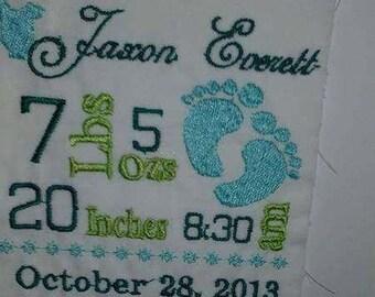 boy birth announcement pillow