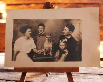Antique Awkward Family Photo Postcard, Antique Postcard, Family with Dog