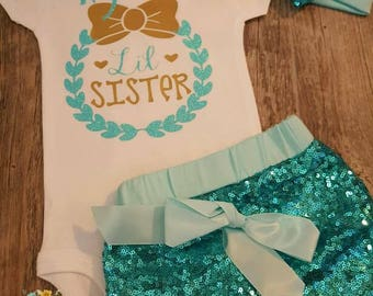 Newborn,  Baby Girl,  Toddler,  Girl, Gold,  Glitter,  Teal and Gold, Sequined Shorts, Bodysuit, or, T-shirt and Bow, Little Sister