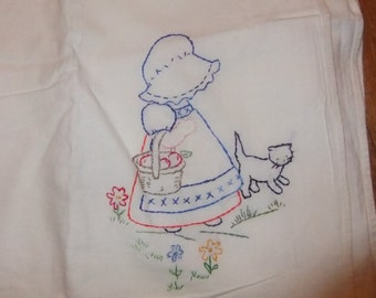 Large Embroidered Flour Sack Dish Towel with Girl in Bonnet and Kitty