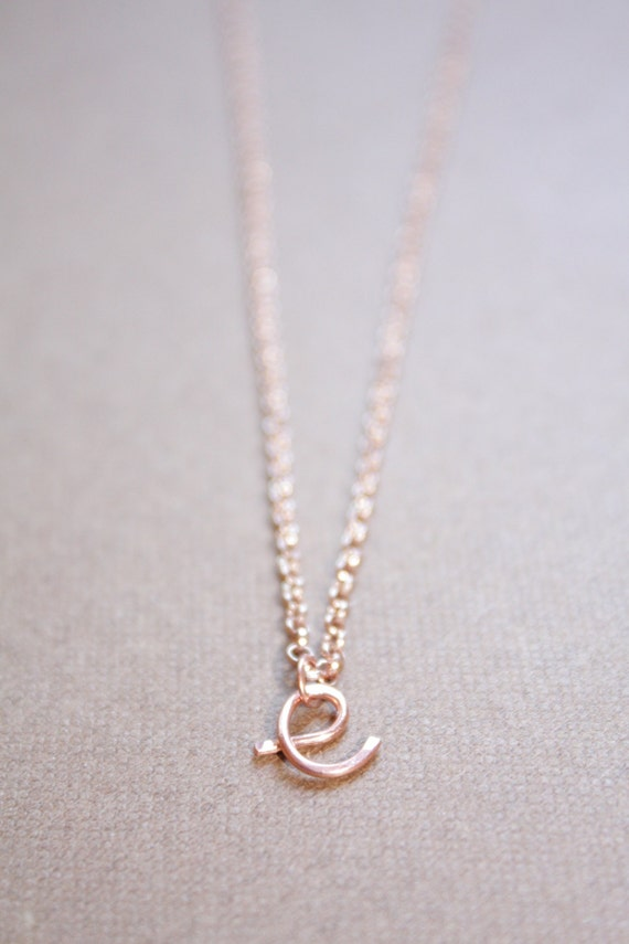 letter e necklace rose gold initial necklace cursive letter necklace lowercase initial necklace