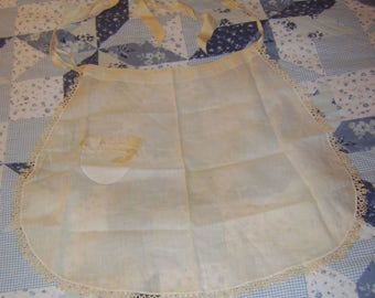old Victorian Hand Sewn Apron with TATTED Edge and Pocket - Ribbon Ties - circa 1910 - Homemade