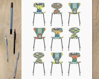 Arne Jacobsen Chairs - Mid Century Modern Classic - Digital Download Poster Print