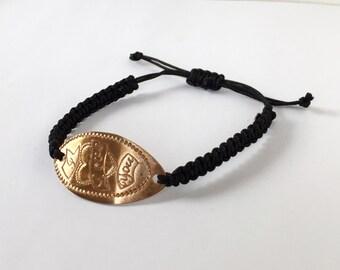 I Love You Bracelet // Pressed Penny Jewelry // Copper Bracelet // Macrame Copper Bracelet