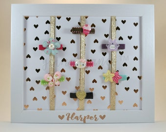 Personalized Hair Clip Holder *LIMITED EDITION - Harper Hearts Frame*